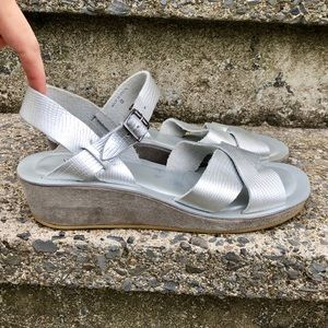 Kork-ease leather hand made silver sandals 8